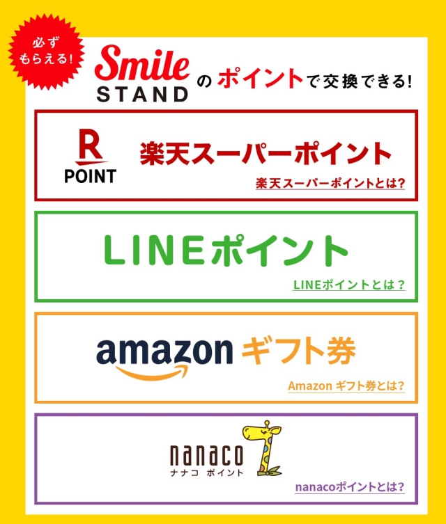 DyDo Smile STAND(ダイドー自販機アプリ)ポイント交換先