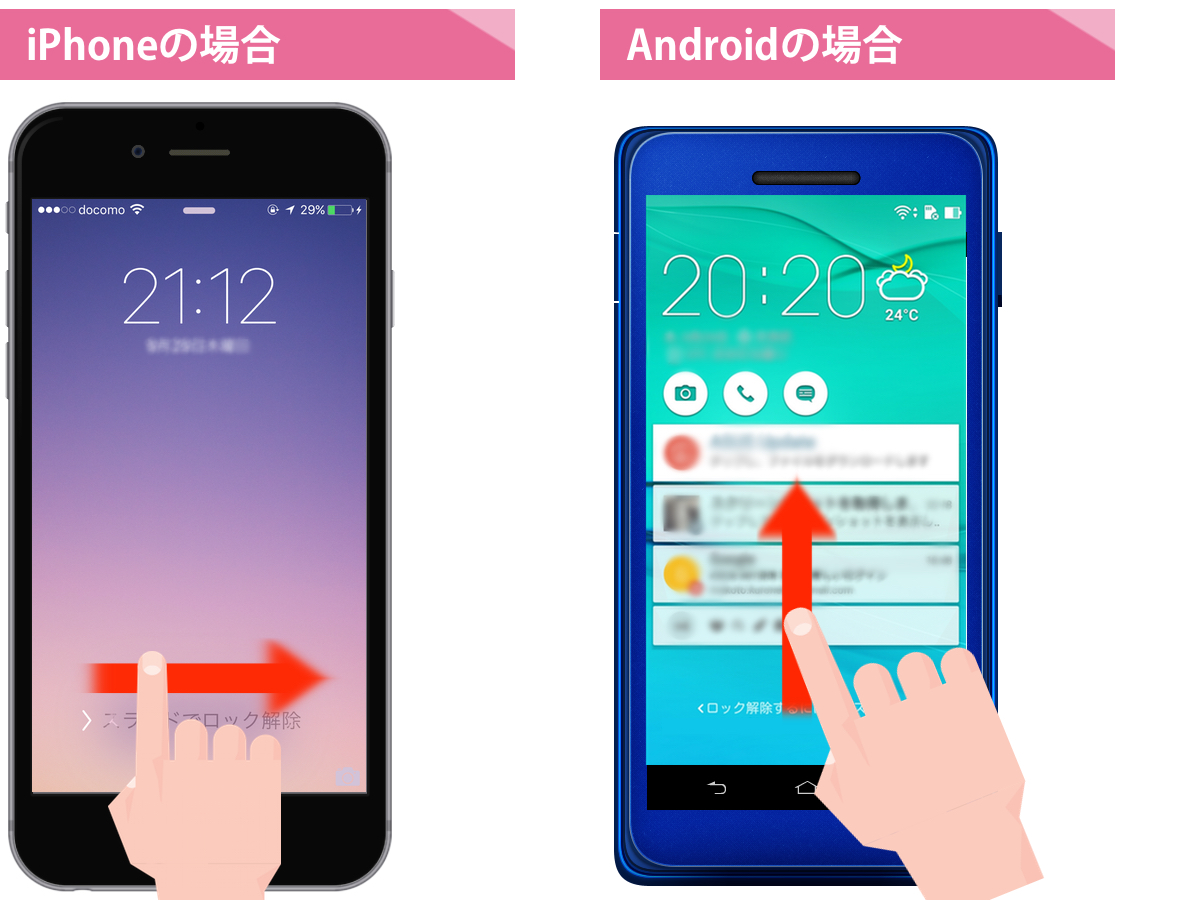 iPhone、Androidの待受け画面ロック解除方法