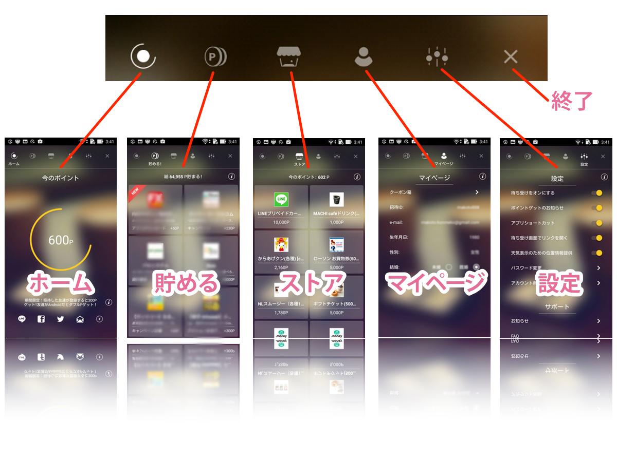 ハニースクリーン各メニュー機能の説明