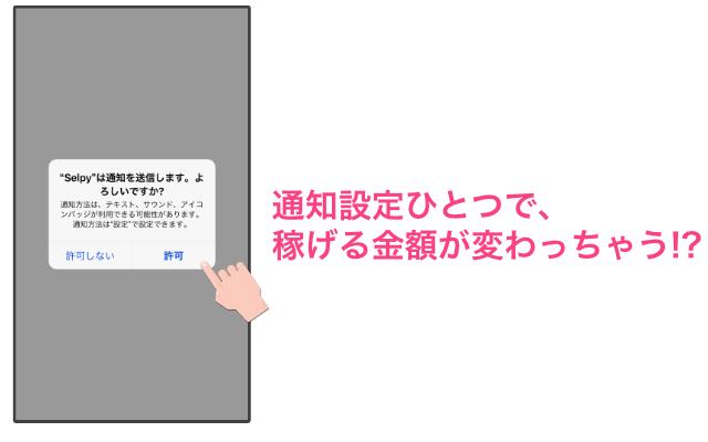 「通知設定の画面」写真販売アプリSelpy(セルピー)