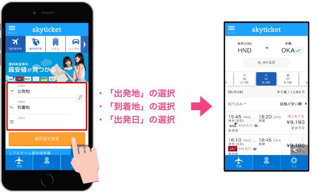 「アプリ操作方法」skyticket(スカイチケット)格安航空券予約購入ができるアプリ