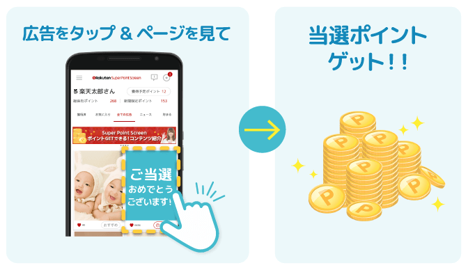 「当選・ポイント付与」楽天スーパーポイントスクリーンアプリ