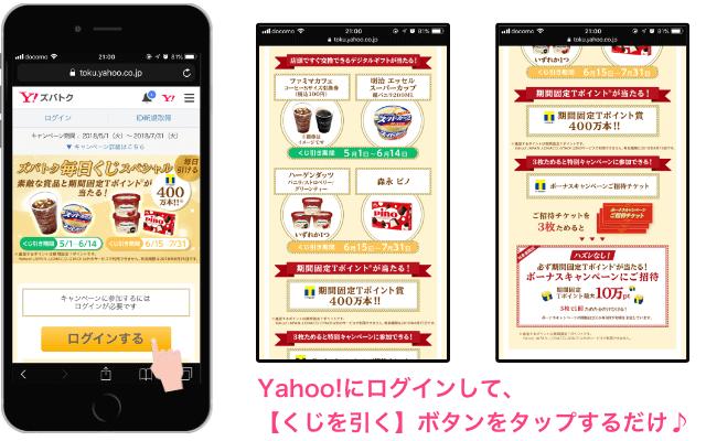 「毎日くじスペシャル」Yahoo!Japanズバトク