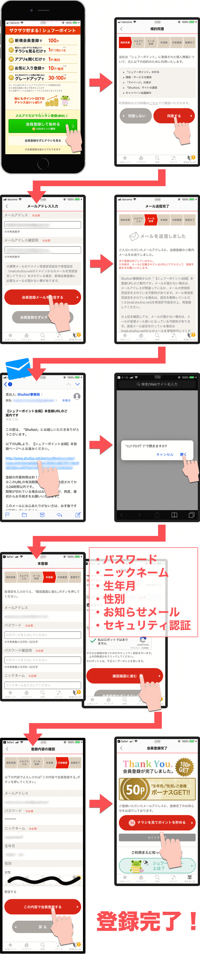 shufooのユーザー会員登録手順・方法