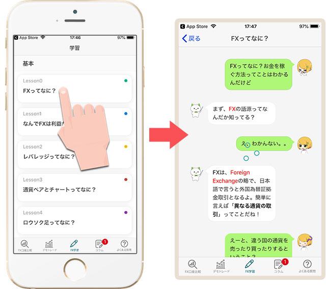 チャット会話形式のFX勉強コンテンツ「FX初心者ガイドアプリ」
