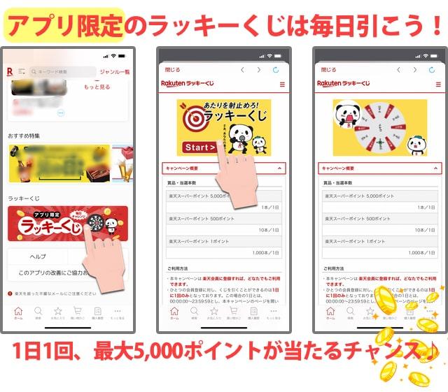 楽天市場アプリ限定「ラッキーくじ」