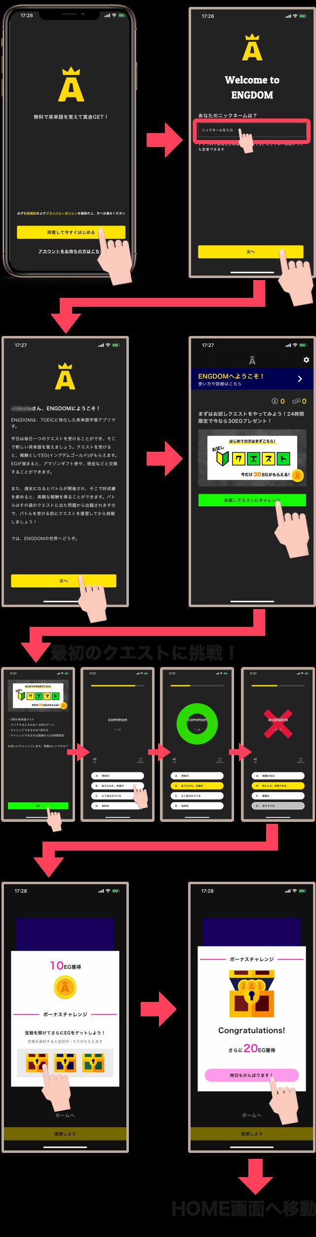 ENGDOM(イングダム)アプリ使い方・登録手順・クエスト